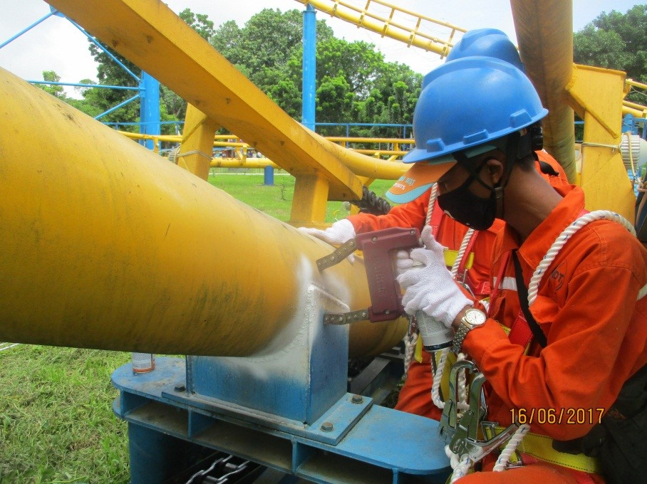 mt inspection on weld joints of support column posts