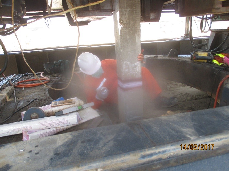 pt inspection on pile splicing weld joint of end plates